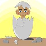 Abstrakt illustration av en pojke i ett ägg Arkivbild