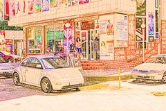 Abstrakt illustration av en shoppinggata i ett sydligt Royaltyfri Foto