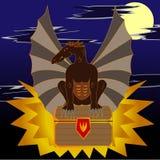 Abstrakt illustration av ett drakesammanträde på bröstkorgen Royaltyfri Bild