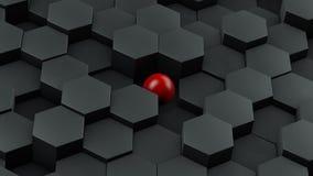 Abstrakt illustration av svarta sexhörningar av det olika formatet och röda bollen som ligger i mitten Idén av unikhet framförand vektor illustrationer