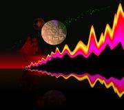 Abstrakt illustration av våg-som mänsklighetevolution Affisch för vetenskapliga upptäckter av forskare Annonsering för lopp stock illustrationer
