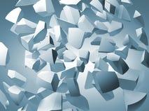 Abstrakt illustration 3d med vita fragment av den stora sfären Arkivbild