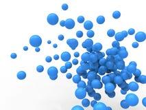 Abstrakt illustration för blått 3D av orbs Arkivfoto