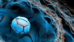 Abstrakt illustration för fractal 3D i blå och orange färg med b stock illustrationer