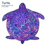 Abstrakt illustration för klotteröversiktssköldpadda Målad sköldpadda, många skuggor av lilor På en vit bakgrund Royaltyfri Bild