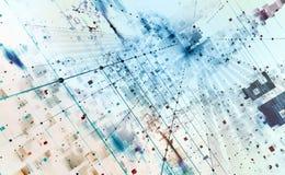 Abstrakt illustration för techbakgrund 3D Kvantdatorarkitektur stock illustrationer