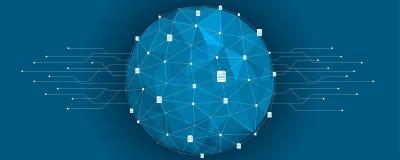 Abstrakt illustration för teknisk bakgrund för cryptocurrency Royaltyfri Foto