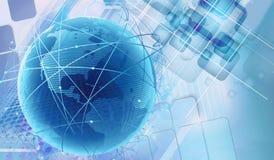 Abstrakt illustration för tolkning 3d av en mångfärgad futuristisk stor blå digital jord på en modern konstverkbakgrund royaltyfri fotografi