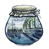 Abstrakt illustration för vattenfärg Järnvägsstation i glasflaska Arkivbild