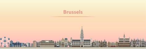 Abstrakt illustration för vektor av Bryssel stadshorisont på soluppgång royaltyfri illustrationer