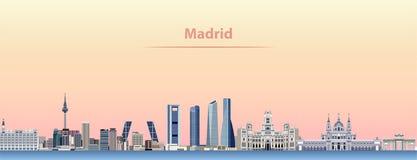 Abstrakt illustration för vektor av Madrid stadshorisont på soluppgång stock illustrationer