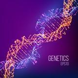 Abstrakt illustration med blåttdna för medicinsk design Genomvektorillustration Innovativ forskning för vetenskaplig kemi Abstrak royaltyfri illustrationer
