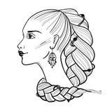 Abstrakt illustration med profil av flickan Royaltyfria Bilder