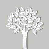 Abstrakt illustration med trädet som göras av papper med skugga vektor illustrationer