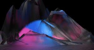 Abstrakt illustration om omkring färgrika kristaller som verkar berg royaltyfri illustrationer