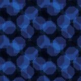 Abstrakt indigoblå blå polka Dots Seamless Vector Pattern, utdraget Grungy för hand royaltyfri illustrationer