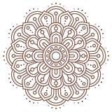Abstrakt indisk mandalavektorlinje Fotografering för Bildbyråer