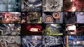 Abstrakt industriell bakgrund multiscreen Fabrik för tung bransch lager videofilmer