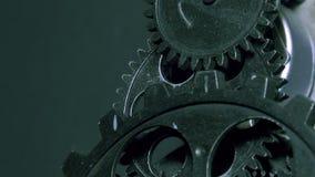 Abstrakt industriell Grunge Rusty Metallic Clock Gears stock video