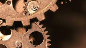 Abstrakt industriell Grunge Rusty Metallic Clock Gears lager videofilmer