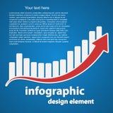 Abstrakt infographic som en graf och en pil äganderätt för home tangent för affärsidé som guld- ner skyen till Fotografering för Bildbyråer