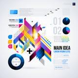 Abstrakt infographicsorientering med glansiga geometriska beståndsdelar Arkivfoton