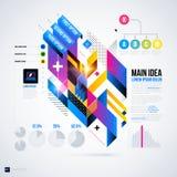 Abstrakt infographicsorientering med glansiga geometriska beståndsdelar Royaltyfri Bild