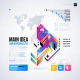 Abstrakt infographicsorientering med glansiga geometriska beståndsdelar Royaltyfri Fotografi