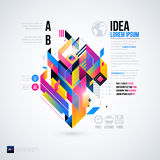 Abstrakt infographicsorientering med glansiga geometriska beståndsdelar Arkivbild