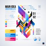 Abstrakt infographicsorientering med glansiga geometriska beståndsdelar Arkivbilder