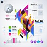 Abstrakt infographicsorientering med glansiga geometriska beståndsdelar Arkivfoto