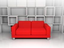 Abstrakt inre, vita kubikhyllor, röd soffa Royaltyfri Foto