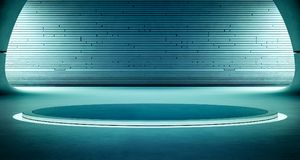 Abstrakt inredesign av den moderna visningslokalen med tom mörk golv- och blåttväggbakgrund, podium för produktskärm Arkivfoton