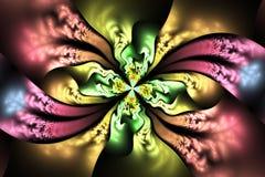 Abstrakt invecklad blom- prydnad på svart bakgrund Arkivfoton