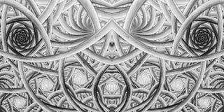 Abstrakt invecklad monokrom prydnad på svart bakgrund Arkivbilder