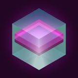 Abstrakt isometrisk kub för design Fotografering för Bildbyråer