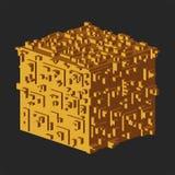 Abstrakt isometrisk kublogo också vektor för coreldrawillustration Isolerad symbol vektor för bild för designelementillustration Arkivfoto