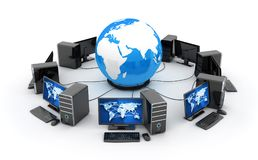 Abstrakt jord, nätverk förbinder och många datorer royaltyfri illustrationer