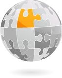 Abstrakt jordklot för vektorpusselstycke - logo/symbol Arkivbild