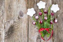 Abstrakt jul och bakgrund för nytt år med gammalt tappningträ Royaltyfri Fotografi