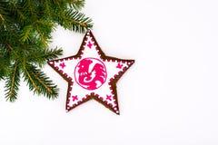 Abstrakt jul och bakgrund för nytt år med pepparkakan Arkivbild