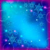 Abstrakt julbakgrund med blåa och vita snöflingor royaltyfri illustrationer