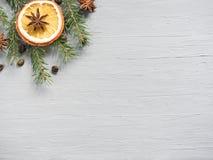 Abstrakt julbakgrund med citrusfrukt, skivor av apelsinen och stjärnaanis kopiera avstånd Fotografering för Bildbyråer