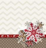 Abstrakt julbakgrund med den dekorativa snöflingor och sparremodellen, illustration stock illustrationer