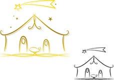 abstrakt julkrubba stock illustrationer