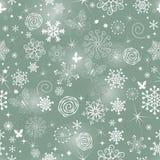 Abstrakt julmodell med snöflingor royaltyfri bild