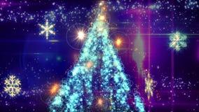 Abstrakt julträd med fallande snö på blå bakgrund stock video