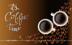 Abstrakt kaffedesign med bönor royaltyfri illustrationer