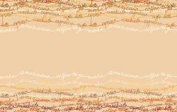 Abstrakt kaffedesign med text royaltyfri illustrationer