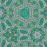 Abstrakt kalejdoskopisk bakgrund som oändlig modell för grönt exponeringsglas vektor illustrationer